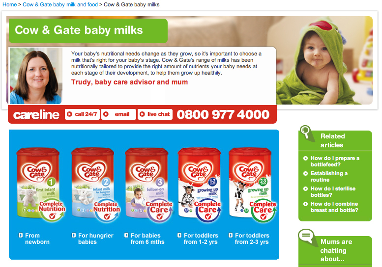 danone pregnancy leaflets promoting cow amp gate brand